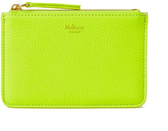 Mulberry Zip Coin Pouch Neon Yellow Small Classic Grain
