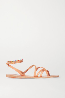 Ancient Greek Sandals Vrysida Pearl And Bead-embellished Leather Sandals - Neutral