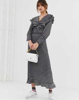 GHOSPELL midaxi dress with ruffle bib in gingham-Black