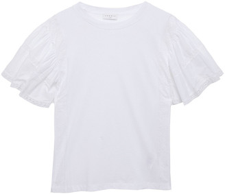 Sandro Zacarie Broderie Anglaise-paneled Cotton-jersey T-shirt