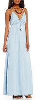 GUESS Denim V-Neck Tie-Front Maxi Dress