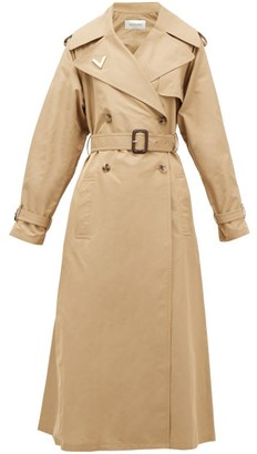 Valentino Logo-plaque Cotton Trench Coat - Womens - Beige
