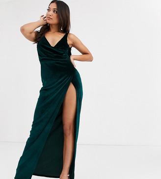 Asos DESIGN Petite cowl back velvet maxi dress-Green