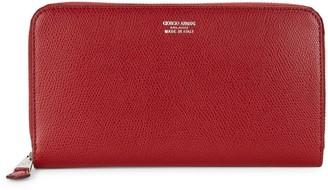 Giorgio Armani Coated Leather Zip-Around Long Wallet