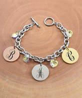 Swarovski Pink Box Women's Bracelets Multi - Tri-Tone Monogram Bracelet With Crystals