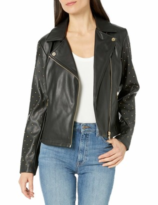 Calvin Klein Women's MOTO JACKET WITH STUDDED SLEEVE Faux Leather