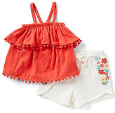 Jessica Simpson Baby Girls 12-24 Months Solid Popover Ruffled Tank Top & Embroidered Shorts Set
