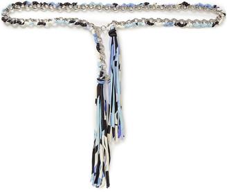 Emilio Pucci Tasseled Printed Stretch-jersey And Silver-tone Belt