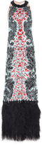 Andrew Gn Sequin Embroidered Feather Gown