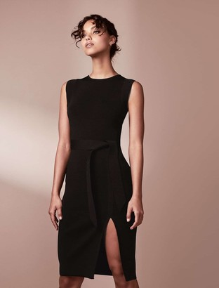 Forever New Ariana Front-Split Knit Dress - Black - 10