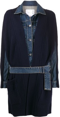 Sacai Denim-Panel Hybrid Cardi-Coat