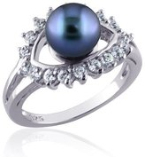 Peora Sterling Silver Rhodium Nickel Finish Dress Ring with Cultured Pearl with CZ