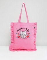 Lazy Oaf Cat Lady 3d Embroidered Frill Edge Tote Bag