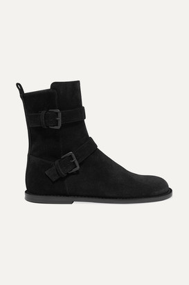 Ann Demeulemeester Buckle-detailed Suede Ankle Boots - Black