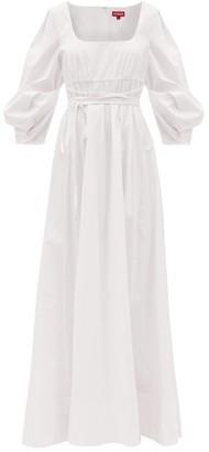 STAUD Juliette Empire-line Cotton-blend Poplin Dress - White