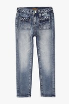 7 For All Mankind Girls 4-6x The Skinny Braided 4-Pocket Jeans In True Heritage Blue