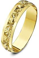 Theia 9ct Yellow Gold Heavy Weight - Star Centre Design D-Shape 5mm Wedding Ring - Size N