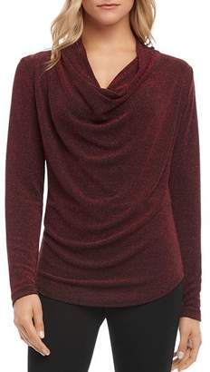 Karen Kane Sparkle Knit Cowl-Neck Top