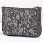 Jigsaw Alana Large Textured Leather Pouch Clutch, Navy Smoke
