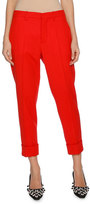 Marni Cropped Straight-Leg Pants with Cuffed Ankle, Red