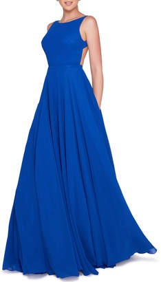 Mac Duggal Ieena for High-Neck Sleeveless Open-Back Chiffon Gown with Train
