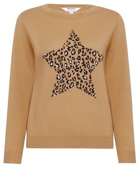 Dorothy Perkins Womens Dp Petite White Animal Print Star Jumper, White