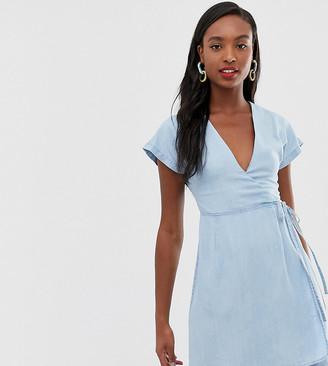 Asos DESIGN Tall denim wrap dress in lightwash blue