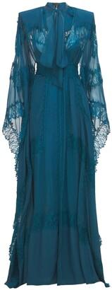 ZUHAIR MURAD Tulle & Lace Kaftan Long Dress