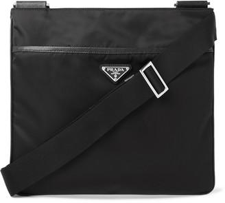 Prada Saffiano Leather-Trimmed Nylon Messenger Bag
