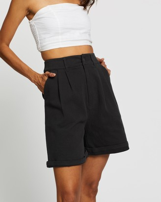 AERE - Women's Black High-Waisted - Longline Organic Cotton Shorts - Size 6 at The Iconic