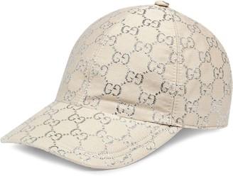 Gucci Beige And Silver Logo Baseball Cap