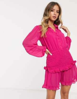 Bardot long sleeve shirred mini shirt dress in pink