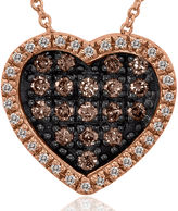 FINE JEWELRY LIMITED QUANTITIES Le Vian Grand Sample Sale White and Chocolate Diamond Heart Pendant Necklace