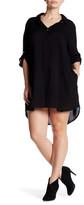 Allen Allen Button-Up Sleeve Shirt Dress (Plus Size)