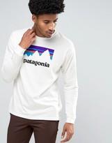 Patagonia Long Sleeve Top Shop Sticker Logo Regular Fit In White