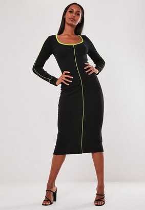 Missguided Black Rib Neon Contrast Piping Long Sleeve Midi Dress