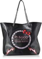 Pinko Hello Kitty Ribbon Maxi Black Eco Leather Tote Bag