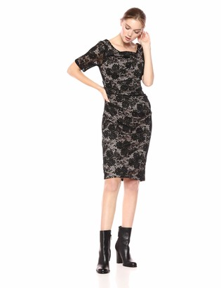 Adrianna Papell Women's Elbow Length Sheer Sleeves Lace Sheath Dress