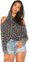 Splendid Leopard Cold Shoulder Sweatshirt