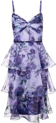 Marchesa Notte Tiered Floral Dress