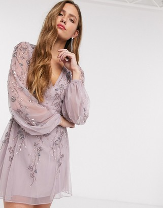 ASOS DESIGN mini dress with blouson sleeve and delicate floral embellishment