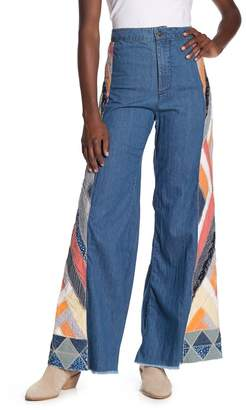 Free People Patchwork Flare Jeans