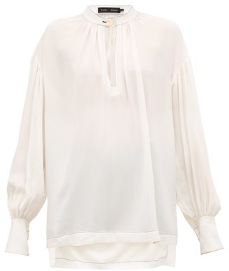 Proenza Schouler Buttoned-keyhole Silk-georgette Blouse - Womens - Ivory