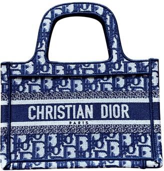 Christian Dior Book Tote Blue Cloth Handbags