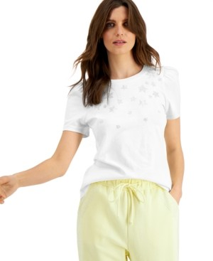 INC International Concepts Inc Cotton Star-Embellished Puff-Sleeve T-Shirt, Created for Macy's