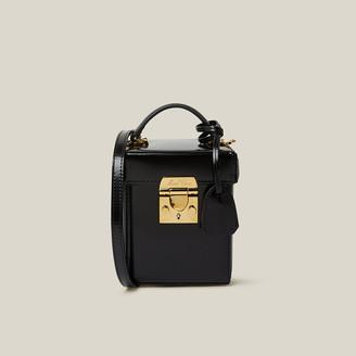 Mark Cross Black Grace Gold-Plated Glossed-Leather Shoulder Bag
