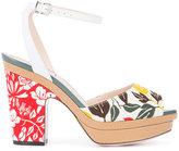 Fendi peep-toe sandals - women - Cotton/Leather - 35