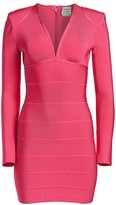 Herve Leger Deep V-Neck Shoulder Pad Mini Bandage Dress