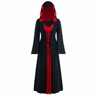 Canifon Halloween Women's Halloween Hooded Lace Up Patchwork Plus Size Long Sleeve Long Maxi Dress Black