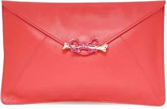 Red(V) Red(v) Embellished Leather Clutch